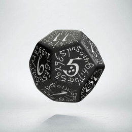 D12 Elvish Black & white Die (1)