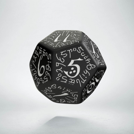 D12 Elvish Black & white Die