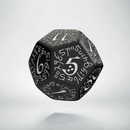 D12 Elvish Black & white Die