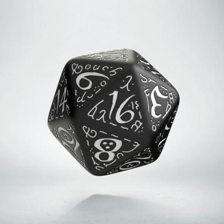 D20 Elvish Black & white Die