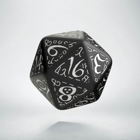 D20 Elvish Black & white Die