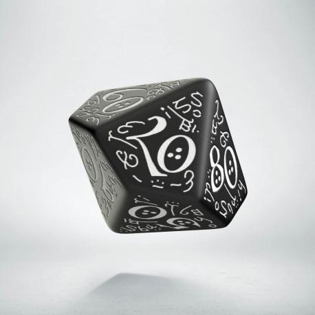 D100 Elvish Black & white Die