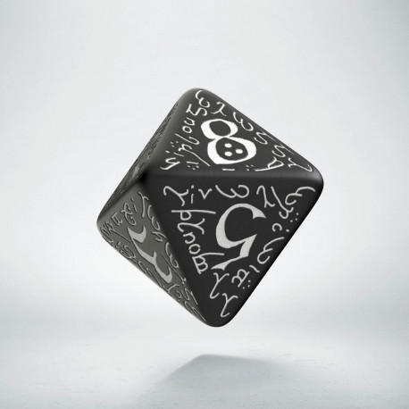D8 Elvish Black & white Die