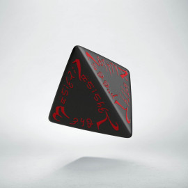 D4 Elvish Black & red Die