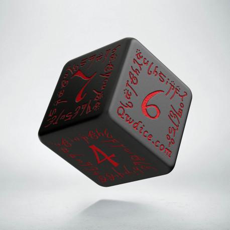 D6 Elvish Black & red Die