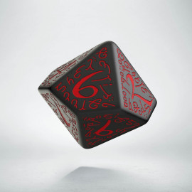 D10 Elvish Black & red Die