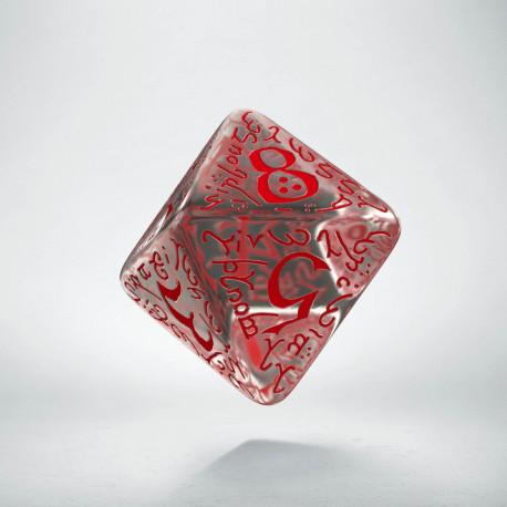 D8 Elvish Translucent & red Die