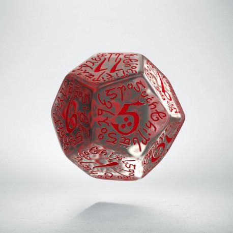 D12 Elvish Translucent & red Die
