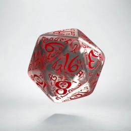 D20 Elvish Translucent & red Die (1)