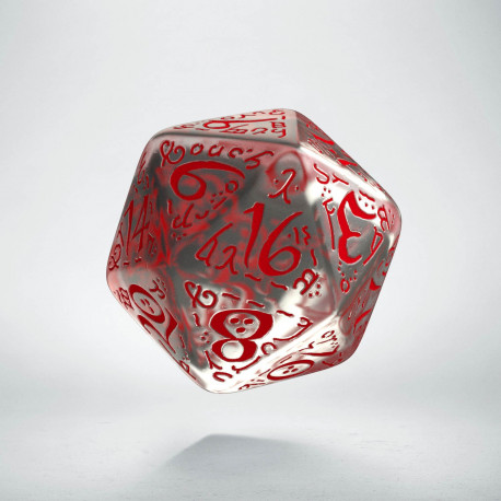 D20 Elvish Translucent & red Die