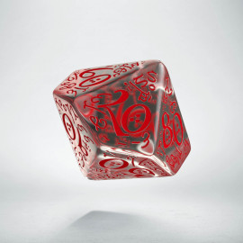 D100 Elvish Translucent & red Die