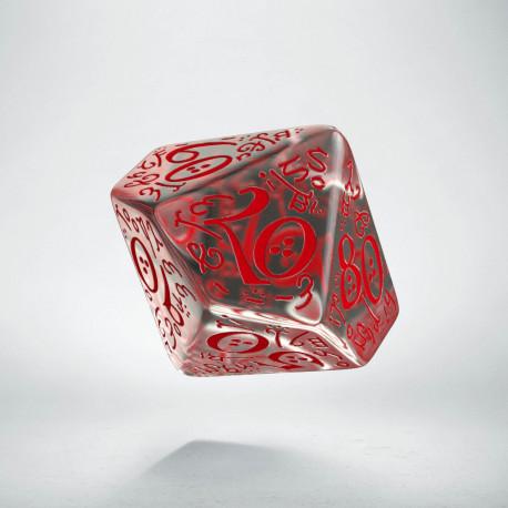D100 Elvish Translucent & red Die
