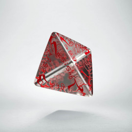 D4 Elvish Translucent & red Die