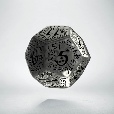D12 Elvish Translucent & black Die