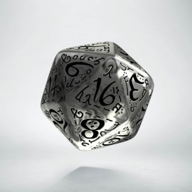 D20 Elvish Translucent & black Die (1)