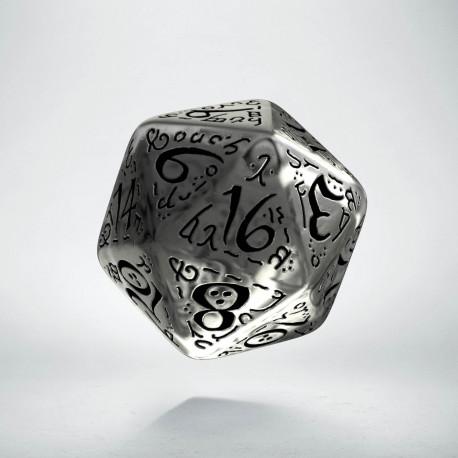 D20 Elvish Translucent & black Die