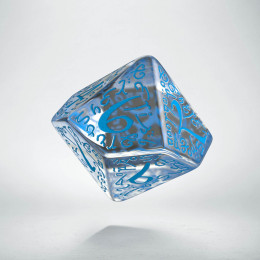 D10 Elvish Translucent & blue Die (1)