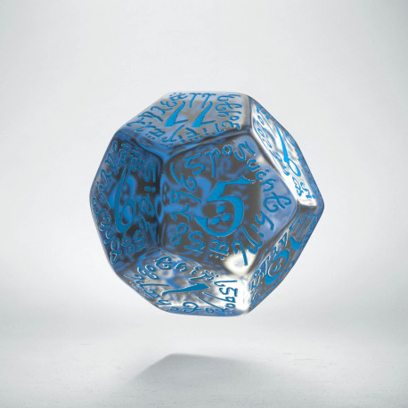D12 Elvish Translucent & blue Die