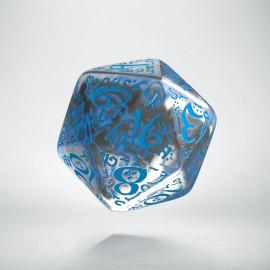 D20 Elvish Translucent & blue Die (1)