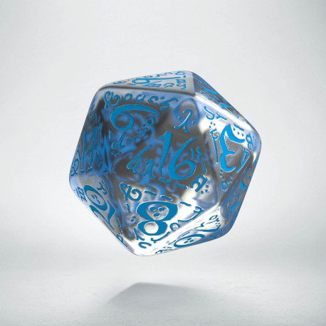 D20 Elvish Translucent & blue Die