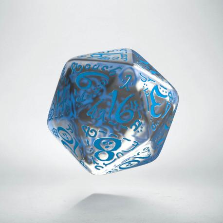 D20 Elvish Translucent & blue Die