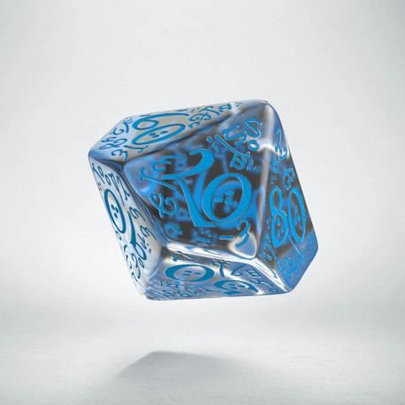 D100 Elvish Translucent & blue Die
