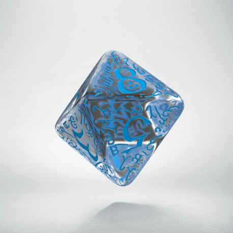 D8 Elvish Translucent & blue Die