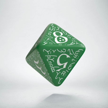D8 Elvish Green & white Die