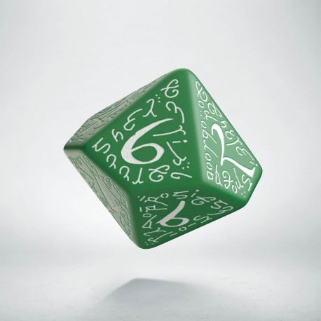 D10 Elvish Green & white Die