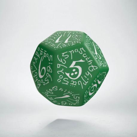 D12 Elvish Green & white Die