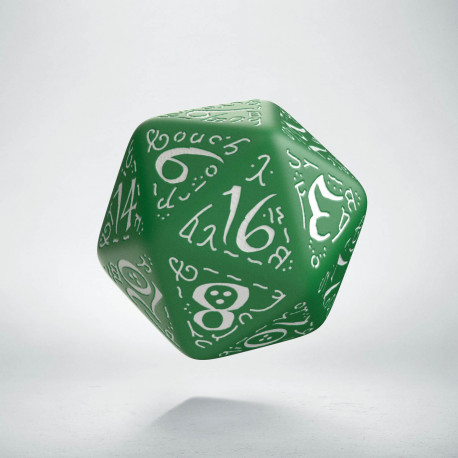 D20 Elvish Green & white Die