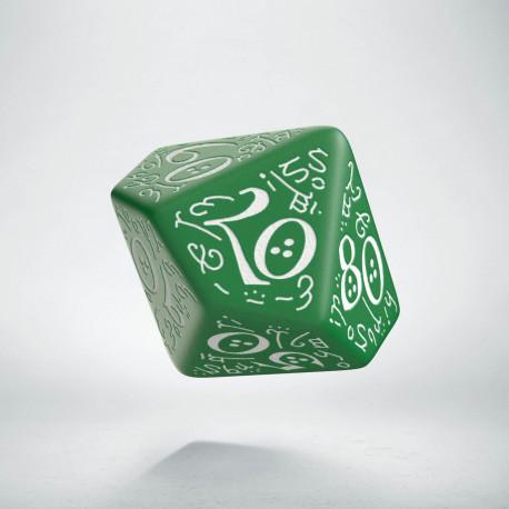 D100 Elvish Green & white Die