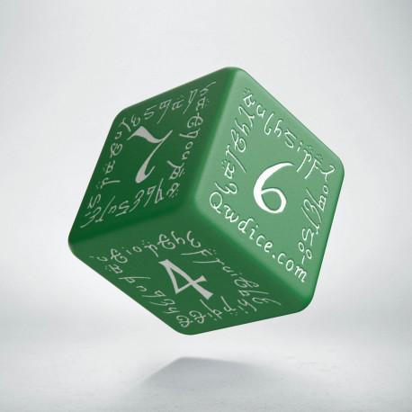 D6 Elvish Green & white Die