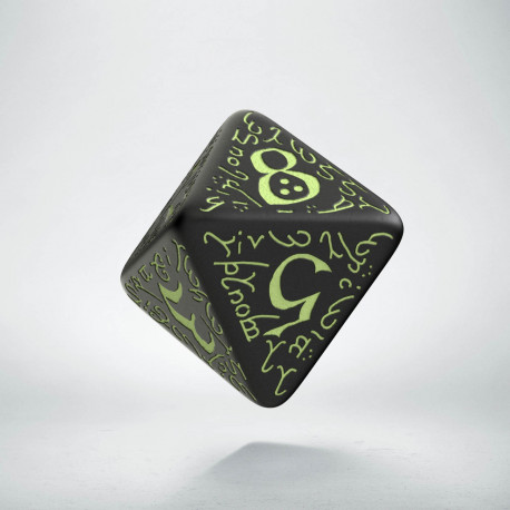 D8 Elvish Black & glow-in-the-dark Die