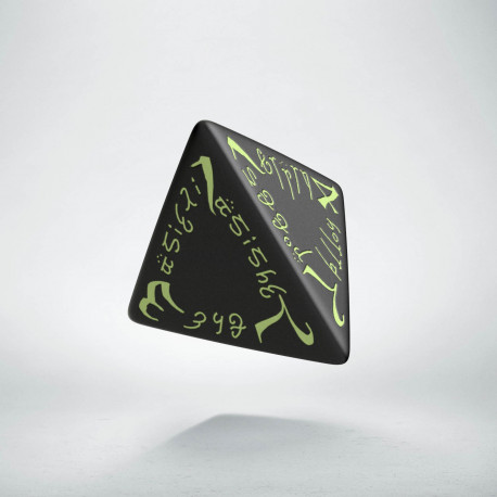 D4 Elvish Black & glow-in-the-dark Die