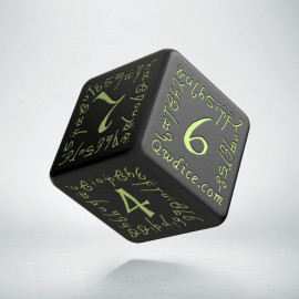 D6 Elvish Black & glow-in-the-dark Die (1)