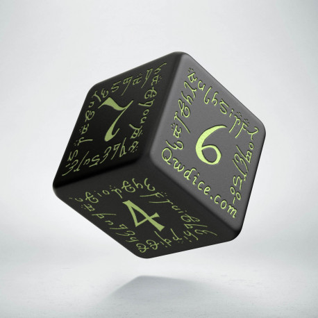 D6 Elvish Black & glow-in-the-dark Die