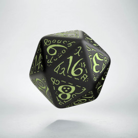 D20 Elvish Black & glow-in-the-dark Die