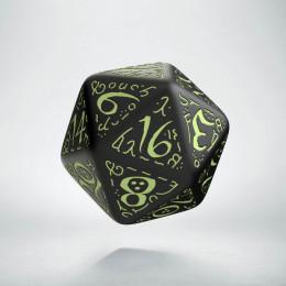 D20 Elvish Black & glow-in-the-dark Die (1)