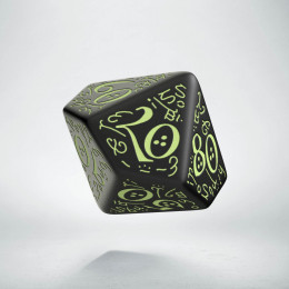 D100 Elvish Black & glow-in-the-dark Die (1)