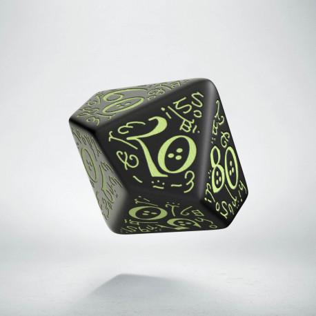 D100 Elvish Black & glow-in-the-dark Die
