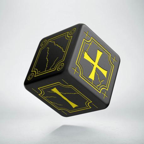 D6 Ancient Fudge Black & yellow Die