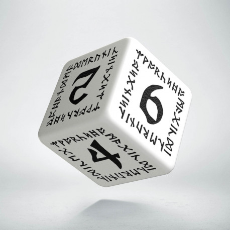 D6 Runic White & black Die