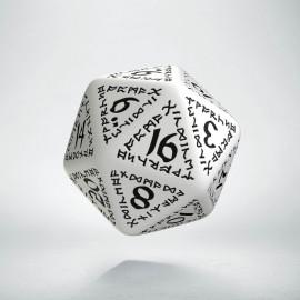 D20 Runic White & black Die