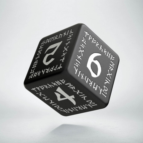 D6 Runic Black & white Die