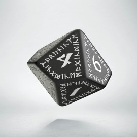 D10 Runic Black & white Die