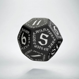 D12 Runic Black & white Die (1)