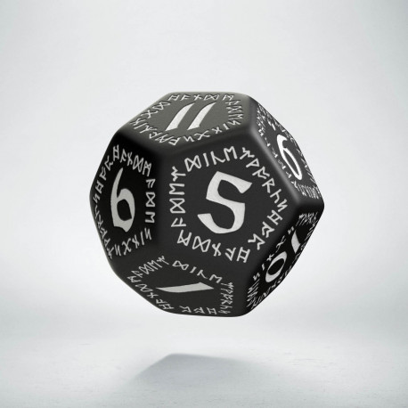 D12 Runic Black & white Die