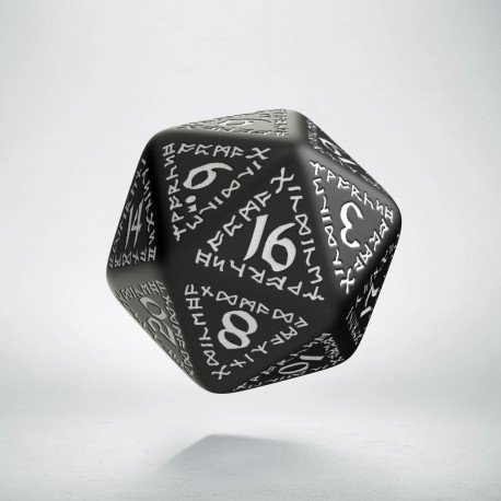 D20 Runic Black & white Die