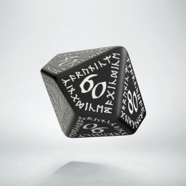D100 Runic Black & white Die (1)
